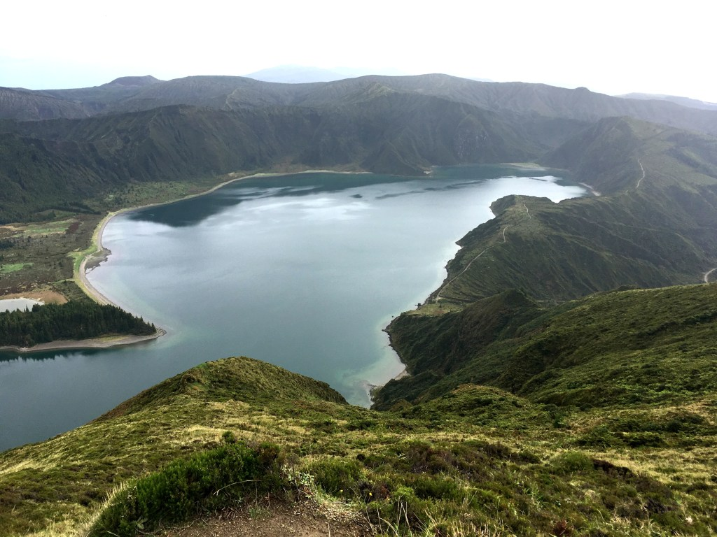 Lagoa do Fogo in São Miguel island in the Azores is a crater lake from volcanic activity