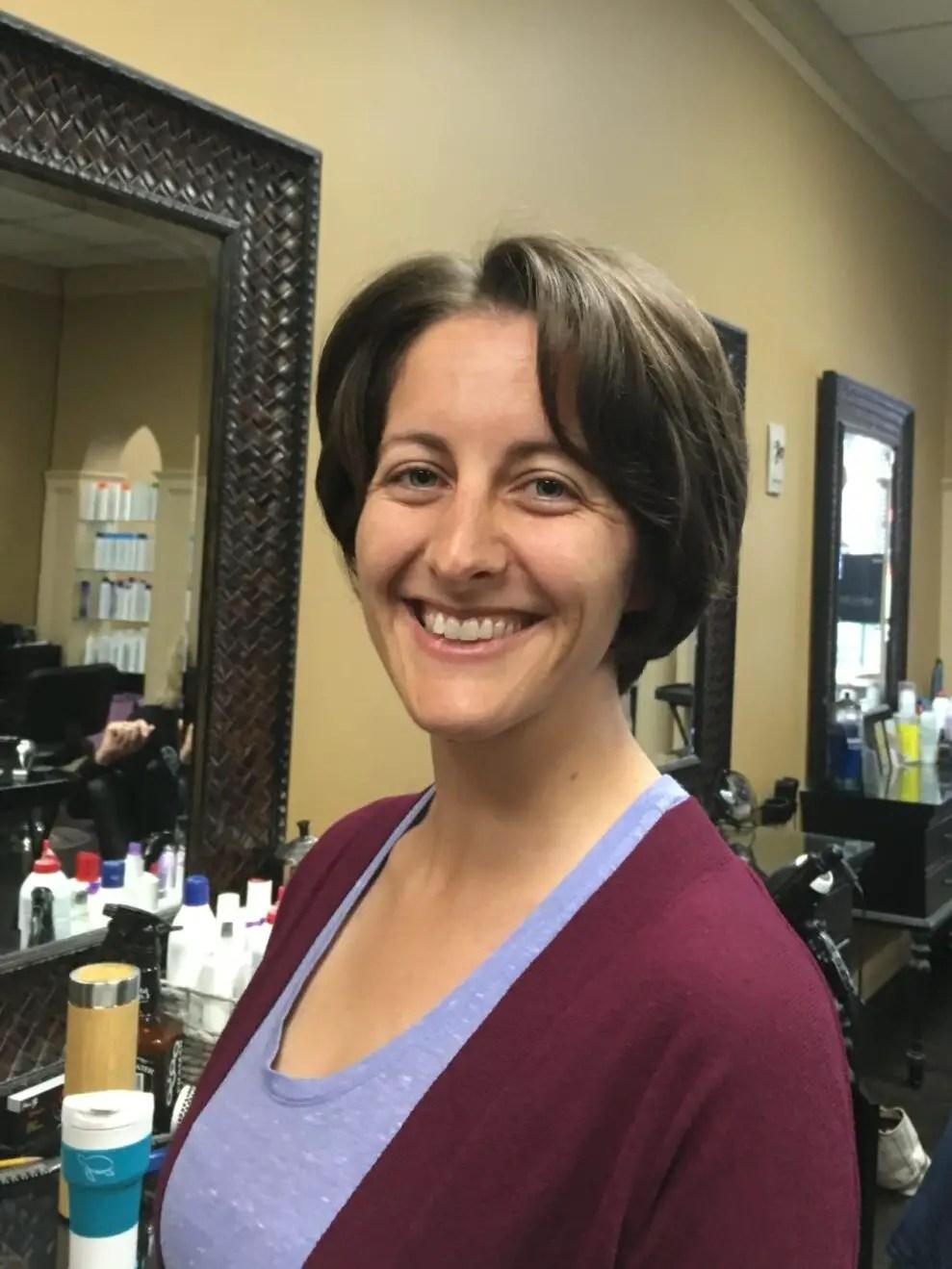 Amanda Walkins donating hair to Locks of Love (after)