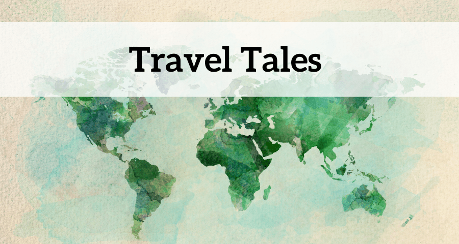 Watercolor world map background with a text overlay saying Travel Tales