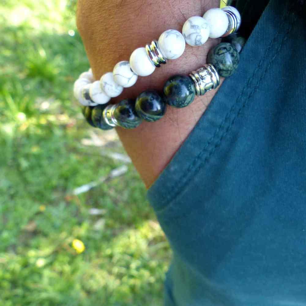 Bracelets homme en howlite de 10 mm et en jaspe kambamba de 10 mm