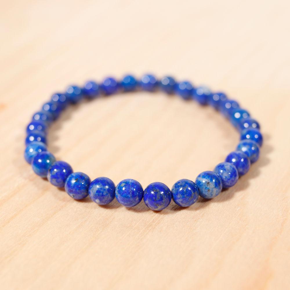 Bracelet en lapis-lazuli, 6 mm