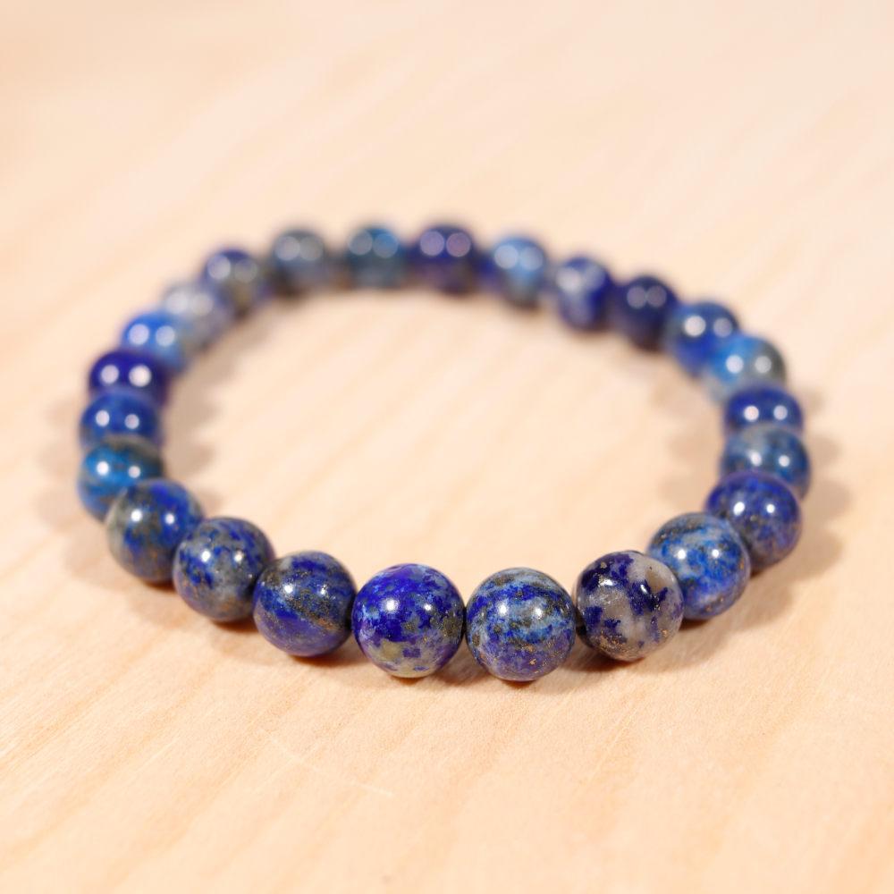 Bracelet en lapis-lazuli, 8 mm