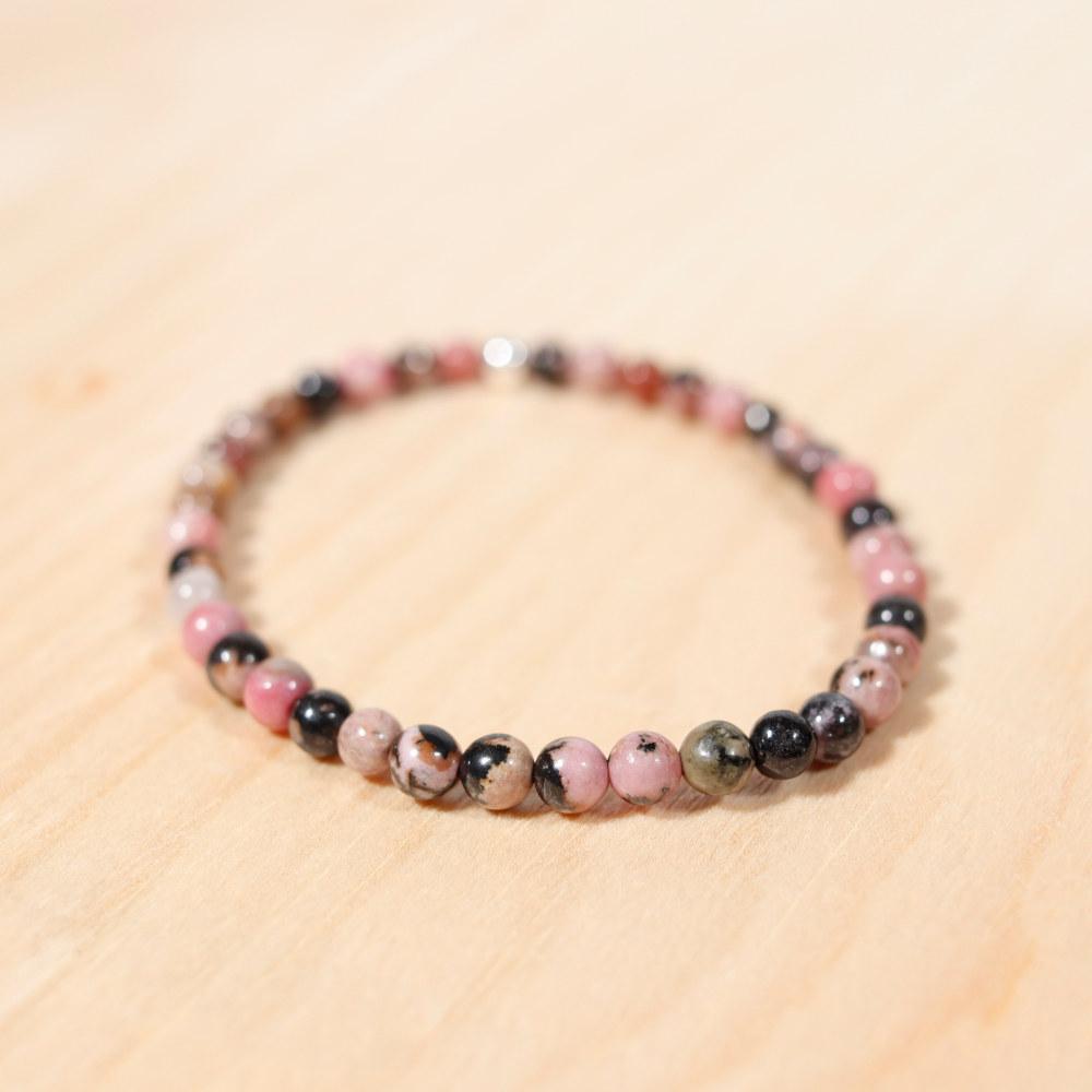 Bracelet en rhodonite, 4 mm