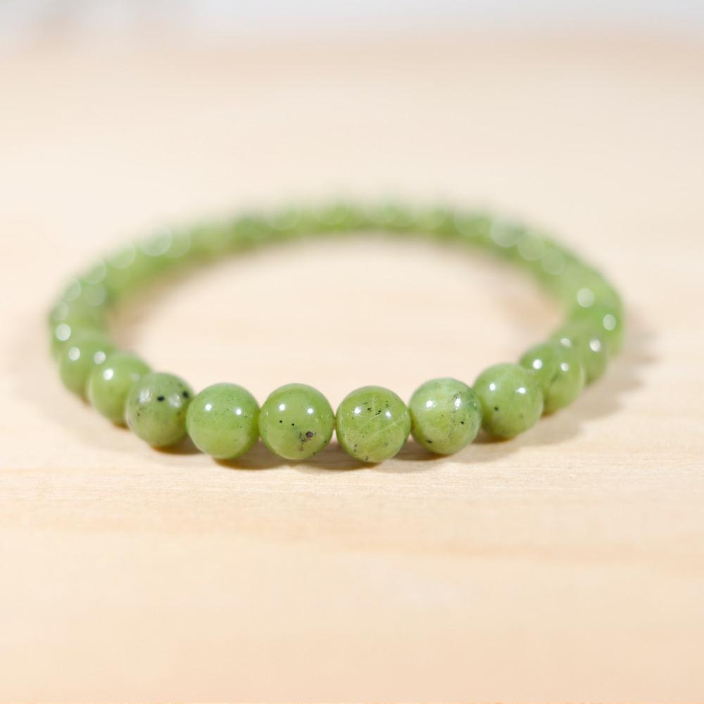 Bracelet en jade néphrite, perle en 6 mm