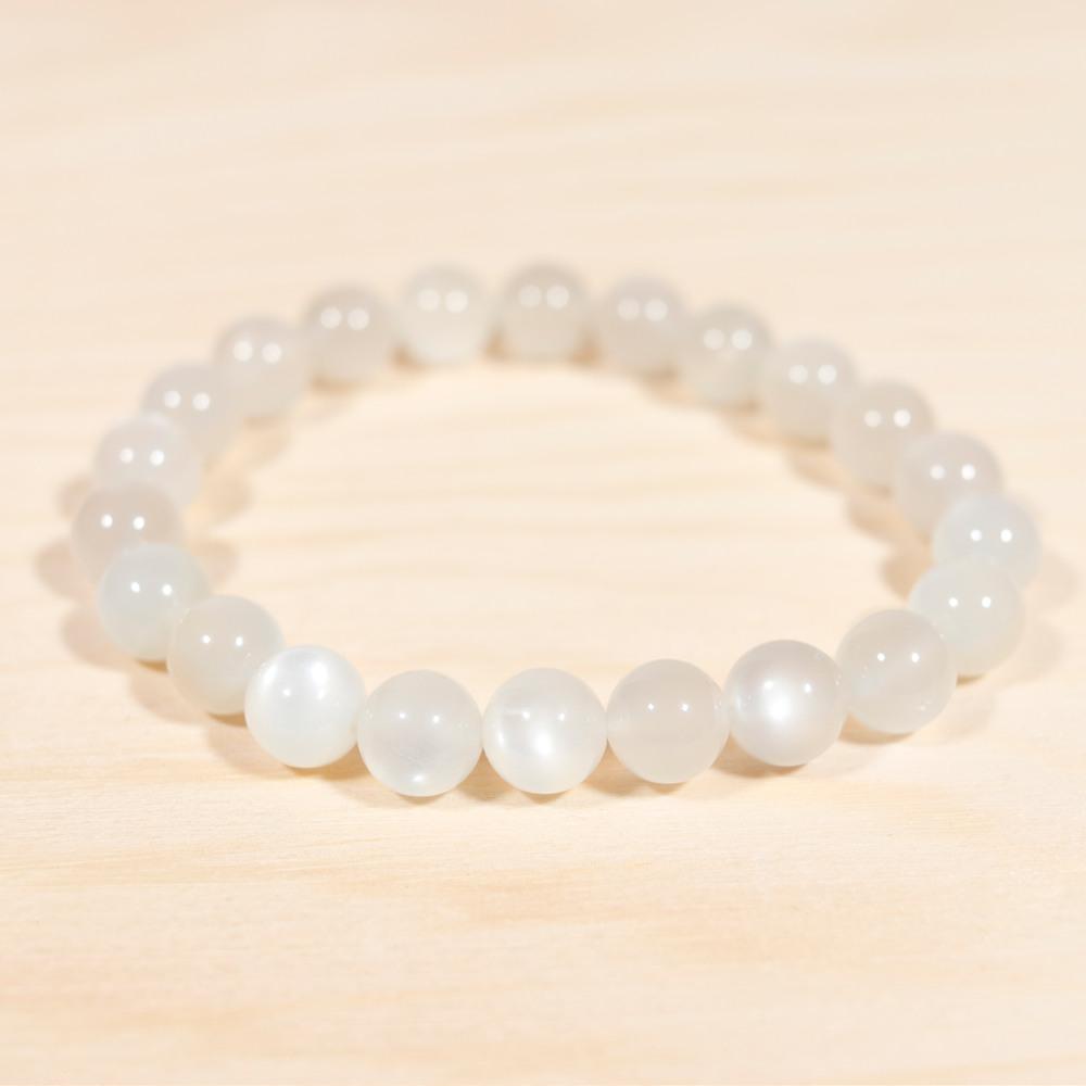 Bracelet en pierre de lune blanche, perle de 8 mm