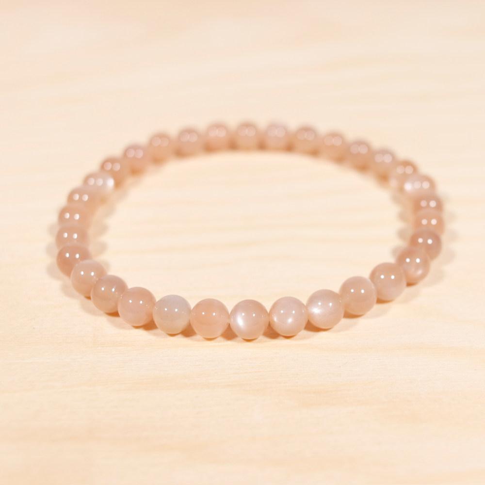 Bracelet en pierre de lune orange, perle de 6 mm