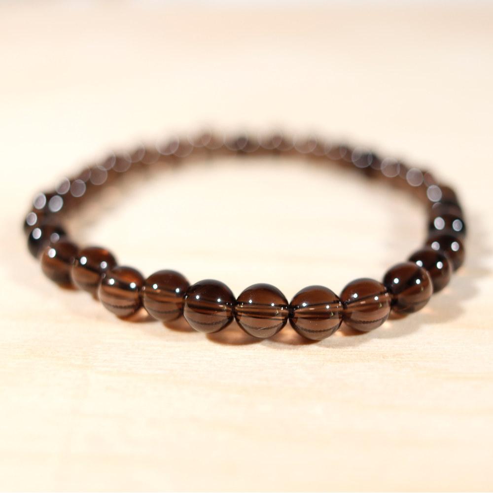 Bracelet en quartz fumé, perle en 6mm