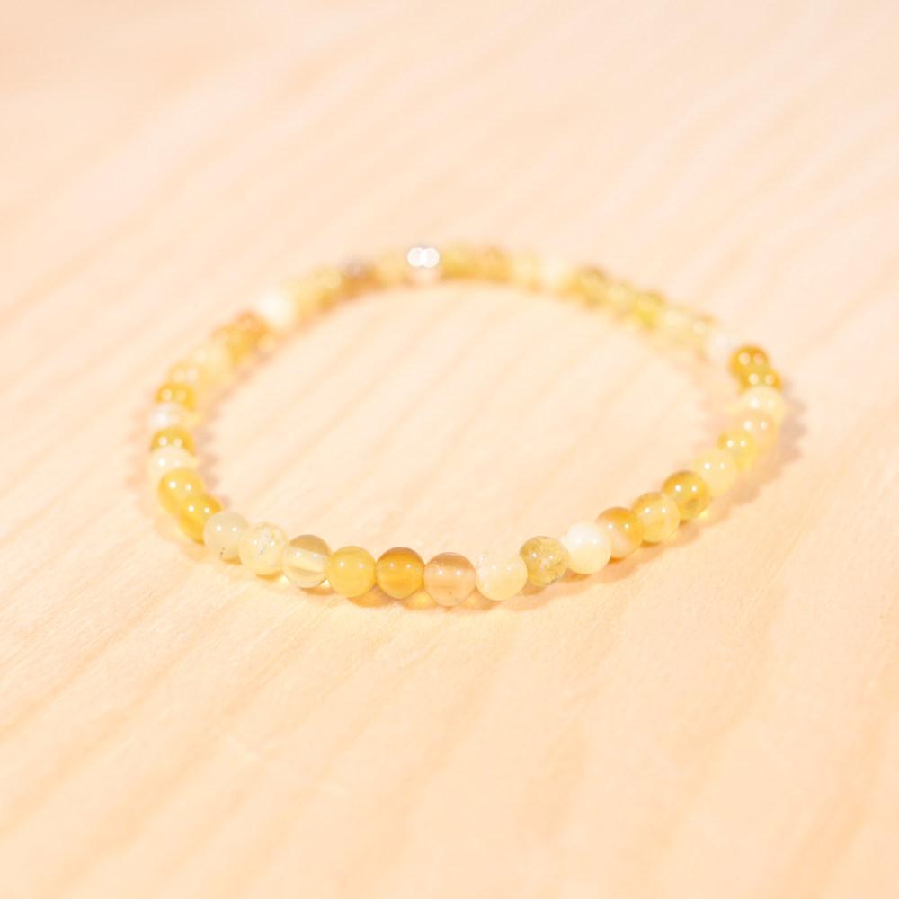 Bracelet en opale jaune, perle en 4 mm