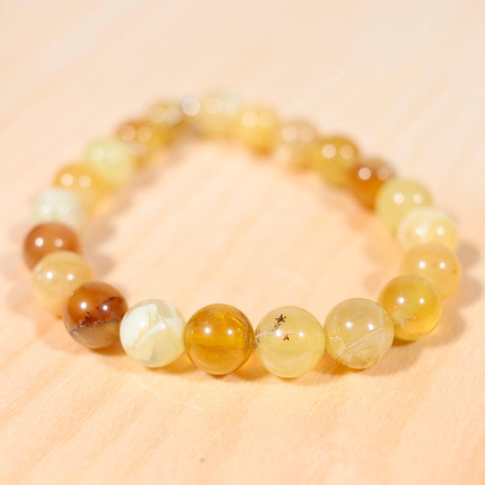 Bracelet en opale jaune, perle en 8 mm