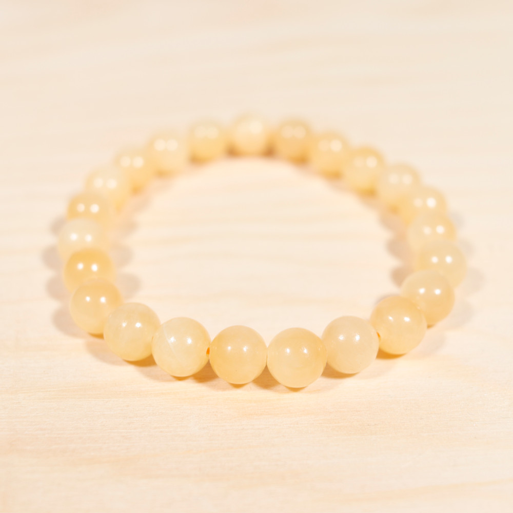 Bracelet en calcite orange, perle de 8 mm