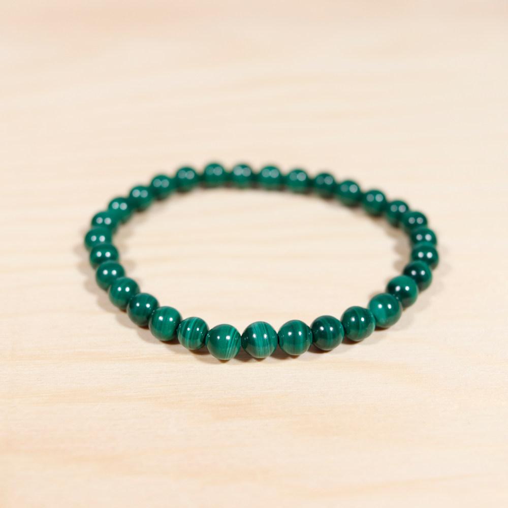 Bracelet en malachite, perle de 6 mm
