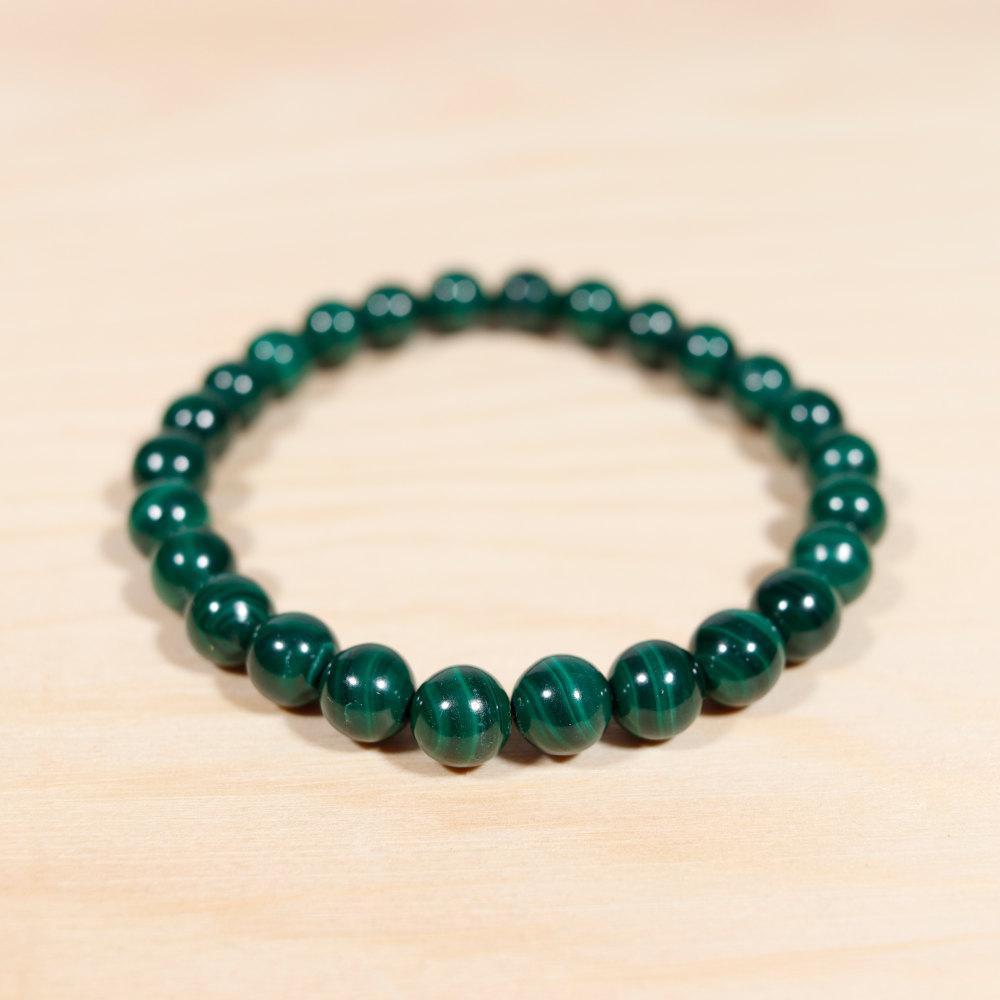 Bracelet en malachite, perle de 8 mm