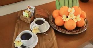 coffee tea with fruits