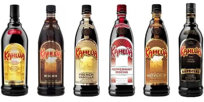 Diferentes variedades de Kahlúa