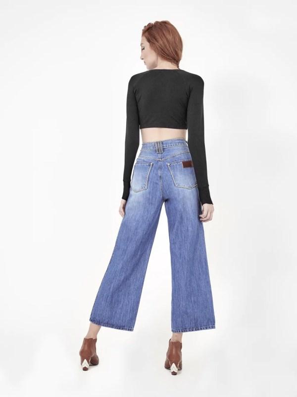 calça pantalona strass