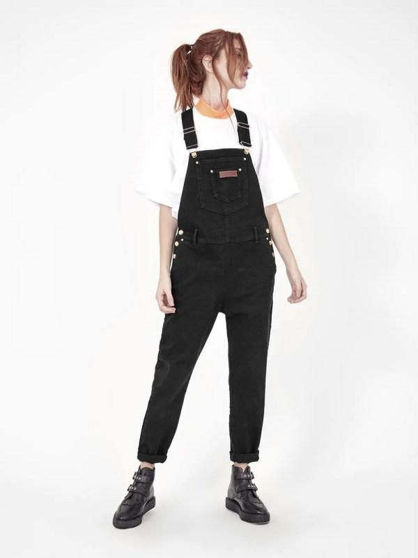 jardineira jeans black