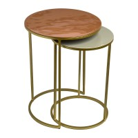 Buy Pols Potten Enamel Side Table - Set of 2 - Pink/Beige ...