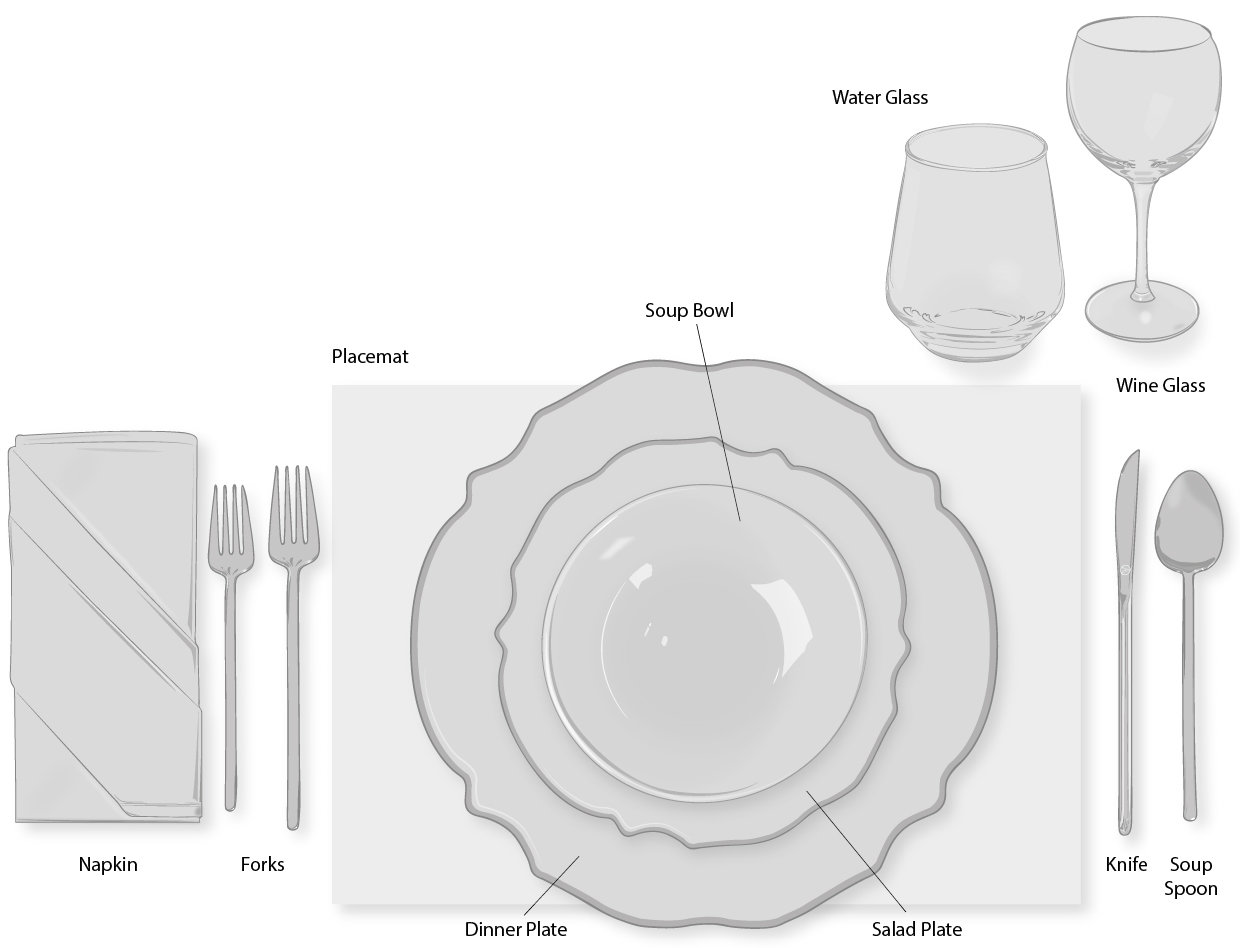 hight resolution of casual or informal dinner table setting