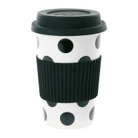 Buy Miss toile Ceramic Travel Mug - Big Black Dots | Amara