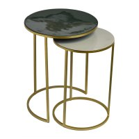 Buy Pols Potten Enamel Side Table - Set of 2 - Green/Beige ...