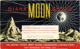 Our postcard design replicates this award sent to ham radio operators who received the first signal.