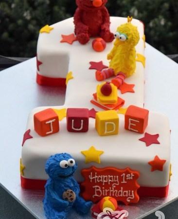 Number One with Sesame Street Cake - Amarantos Designer Cakes Melbourne