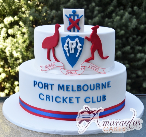 Two Tier Cake with Logo - Amarantos Designer Cakes Melbourne