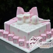Square with Booties and Rattle Cake - Amarantos Designer Cakes Melbourne