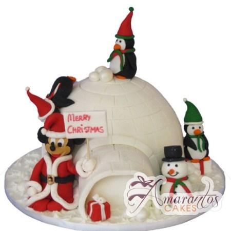 Mickey Mouse Igloo Christmas Cake - Amarantos Designer Cakes Melbourne