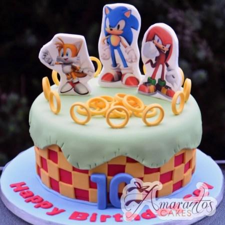 Base cake with Sonic - Amarantos Cakes Melbourne