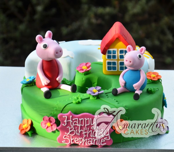 Peppa Pig cake Number cake with Peppa Pig, George and house - Amarantos Cakes Melbourne