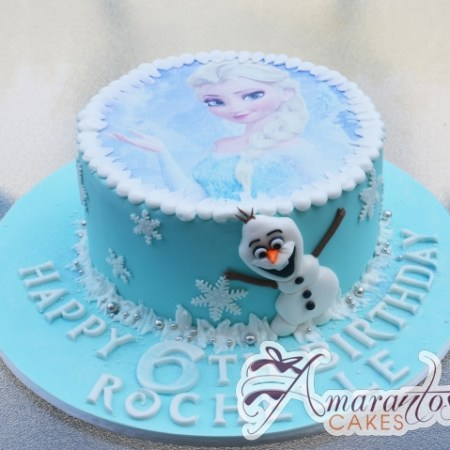Base With Elsa and Olaf Cake - Amarantos Designer Cakes Melbourne