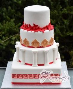 Four Tier Grecian themed Cake - Amarantos Cakes Melbourne