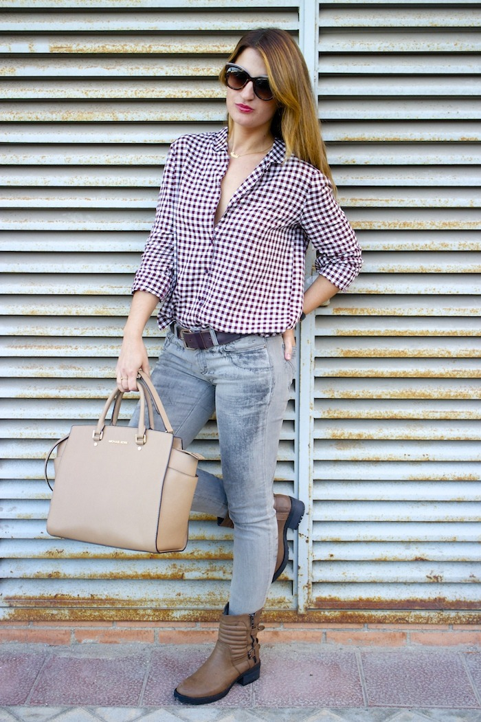 camisa cuadros zara botas mustang dolce and gabanna jeans michael kors bag amaras la moda 2