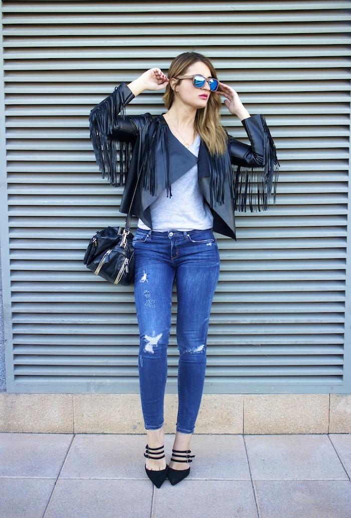 boohoo fringed jacket Prada bag Zara jeans shoes hysteresisofficial sunnies amaras la moda 3