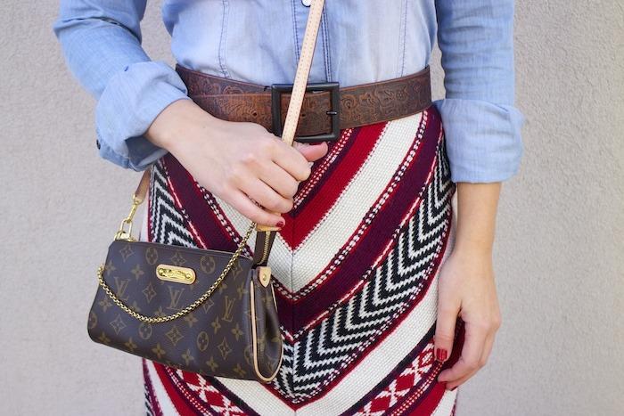 tribal skirt denim shirt boots louis vuitton bag amaras la moda 6