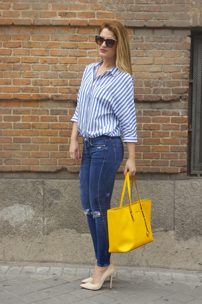 striped blouse michael kors bag chloe borel shoes 6