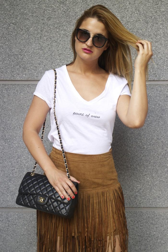 JustFab falda flecos sandalias chanel bag Prada sunnies amaras la moda Paula Fraile 2
