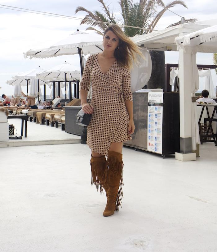justfab dress amaras la moda zara boots chanel bag Puro Beach Palma de Mallorca Paula Fraile 4