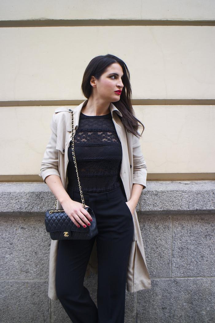 trench La Redoute chanel bag black amaras la moda paula fraile6