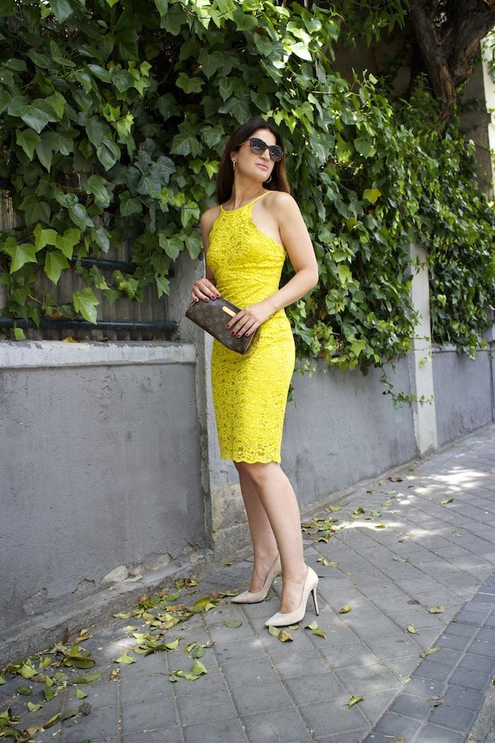 yellow dress zara amaras la moda chloe borel shoes louis vuitton bag paula fraile6