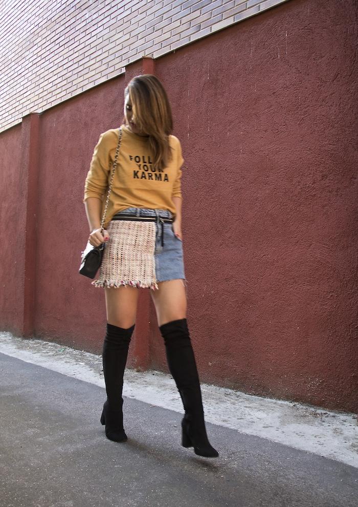 follow your karma sudadera zara falda denim tweed pendientes tiahra madrid paula fraile amaras la moda6