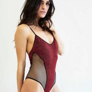 Costume Intero Parigi Rete In Lurex Rosso / Nero
