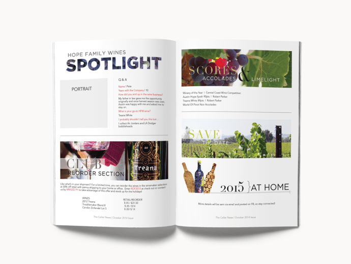 Amarie Design Co. Winery Newsletter Design for Wine Club Paso Robles