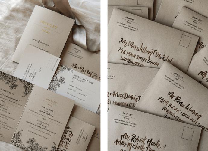 Custom Invitation Suite Design and Modern Calligraphy in San Luis Obispo California by Amarie Design Co.