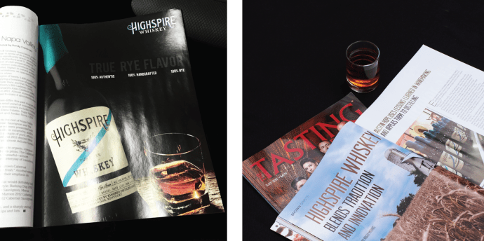 Editorial Layout Design for Spirits Magazine Tasting Panel Ad for Highspire Whiskey by Amarie Design Co.