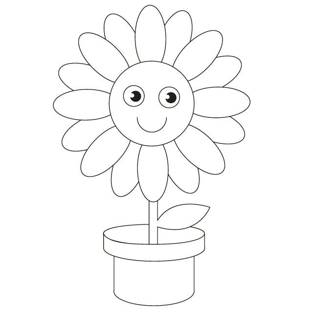 Pot flower cartoon