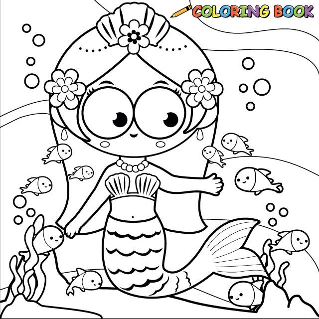 Mermaid and fish swimming