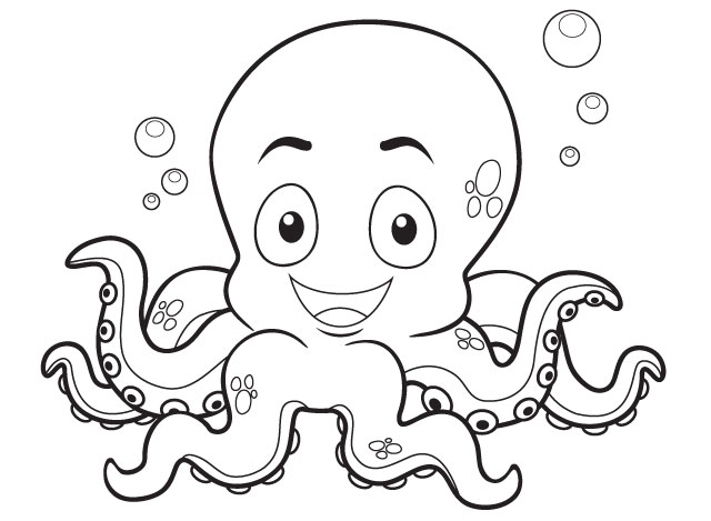octopus - Coloring book