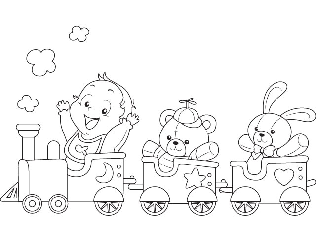 a baby ride a toy train